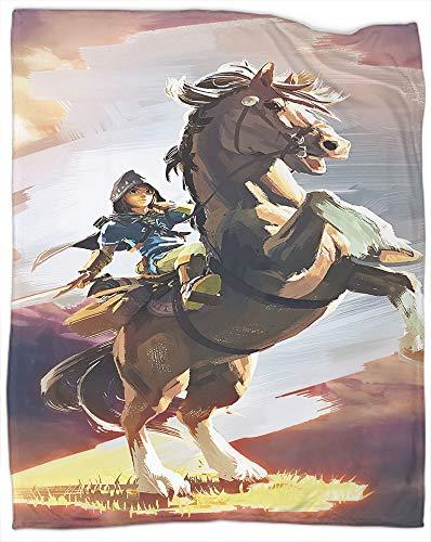 Manta de forro polar de franela The Legend of Zelda: Breath of the Wild como colcha/colcha/funda de cama/sábanas – suave, ligera, cálida y acogedora, tamaño completo de 70 x 90 pulgadas