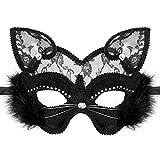 Venetian Masquerade Mask Luxury Black Cat Lace Mask for Fancy Dress Christmas Halloween Costume Party Girls Women (Black Cat Mask)