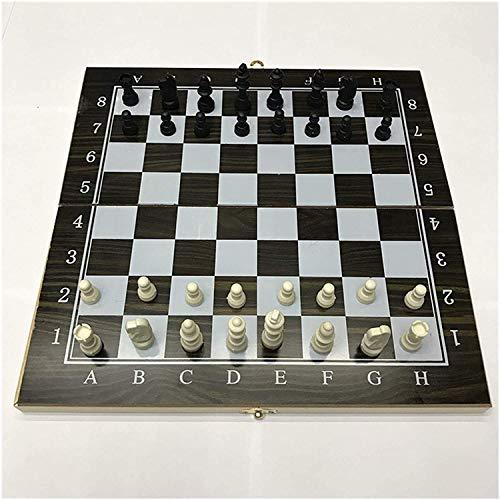 QQW Schach Set-Feste Kontrolleure Set Holz 3 In 1 Schach Gedruckt Schachbrett Reisebranchen Spiele Internationale Schach Set Backgammon Checkers Schachspiel (Farbe: 34 X 34 Cm),34 X 34 cm
