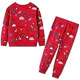 FILOWA Conjuntos Chándales Niñas Conjuntos Deportivos Trajes Unicornio Arcoiris Rosa Rojo Sudaderas Tops y Pantalones Ajustable Cinturón Otoño Invierno Algodón Disfraces Ropa 4-5 años,5T