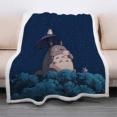 BOBD-DW Tonari no Totoro Flanell Flauschige Tv-Decken/Sofadecke/Wohndecke Warm, Gemütlich, Langlebig Kuscheldecke 3D-Druck-Animationsdecke 150cm(W) X200cm(H)