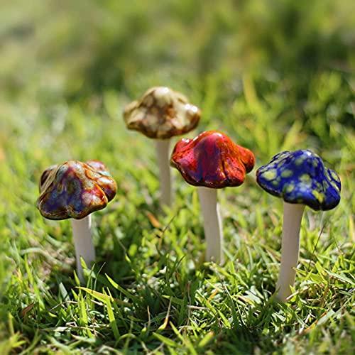 Yardwe 4 x Keramik-Pilze für den Garten, Dekoration für Feengarten, Terrasse, Blumentöpfe, Outdoor-Statue, 11 x 5 x 5 cm