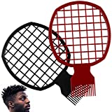 2 Pcs Afro Twist Comb Set Curl Weave Dreadlocks Natural Style Hair Brush Tool Suitable For Men Women Barber Better Than Sponge Easy to Clean(Black&Red)