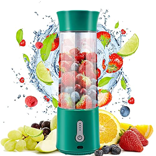 Portable Blender, 17 Oz Personal Size Blender, Mini USB Rechargeable Jucer Cup with Six 3D Blades, Great for Smoothies, Fruit Juice, Mike Shakes, BPA-Free (Green)