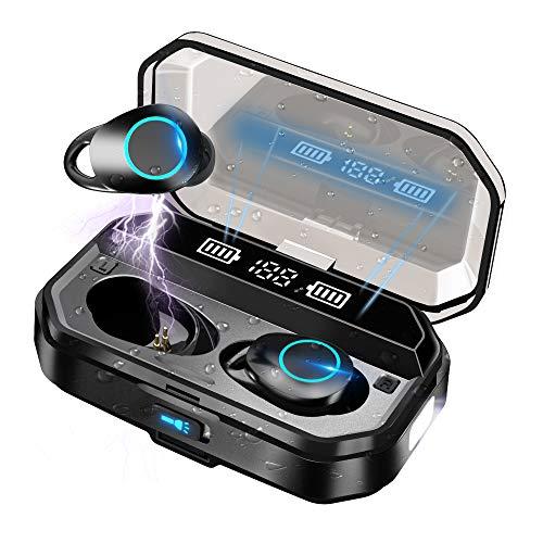 Auriculares Inalámbricos Bluetooth 5.0 con linterna LED, IPX7 Impermeable Sport Auriculares con Mic/120 Hrs/HD Estéreo/Bajo Profundo Inmersivo/Control Táctil/Cancelación de Ruido