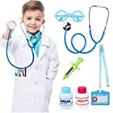 Kids Doctor Costume with White Doctor Coat Halloween Role Play Dress Up Doctor Playset for Boys Girls