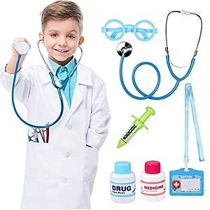 Tacobear 7 Piezas Juguete de Médico para Kit para Hacer de Doctor Maletín de Médico con Disfraz de Doctor, Estetoscopio y Jeringa de Juego de Roles Cumpleaños Regalos para Niña Niños