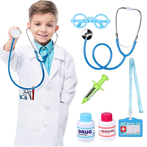 Tacobear 7 Pezzi Kit Dottore per Bambino Valigetta del Medico Gioco di Ruolo Dottore con Camice da Dottore, Stetoscopio, Siringa per Ragazzi Ragazze