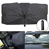 CANMIYOU - Parasol plegable para parabrisas de coche, rayos UV y protector de calor, protección UV, parasol, protector solar, se adapta a parabrisas de varios tamaños (largo x ancho x 31 pulgadas)
