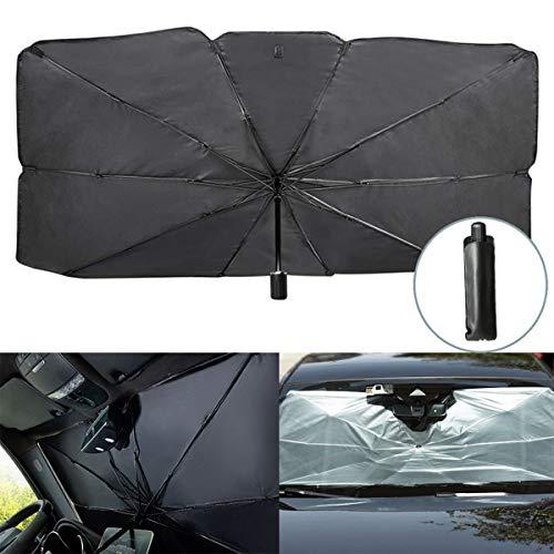 CANMIYOU - Parasol plegable para parabrisas de coche, rayos UV y protector de calor, protección UV, parasol, protector solar, se adapta a parabrisas de varios tamaños (120 x 65 cm)