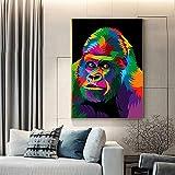 ganlanshu Acuarela Abstracta Mono Pared Arte Pintura al óleo Animal decoración de la Pared sobre Lienzo para habitación de niños,Pintura sin Marco,50x75cm