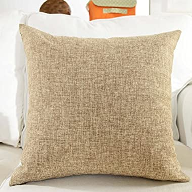 HOME BRILLIANT Decor Lined Linen Square Throw Cushion Pillowcase Cover for Couch, 18  x 18 , Natural Linen