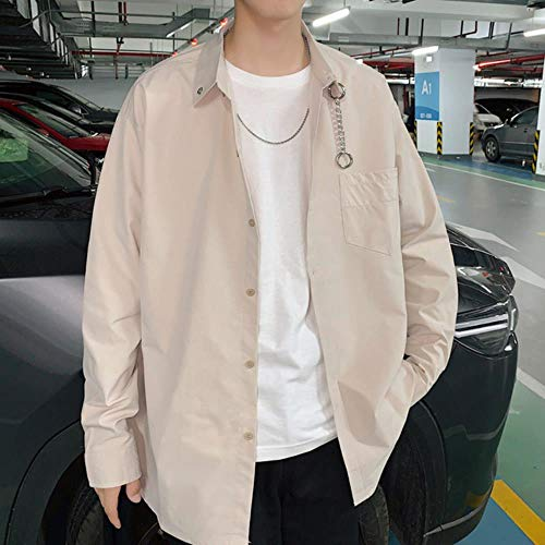 Mrytiuoperg heren chique werkkleding lange mouwen jas shirt Bf originele ijzeren ketting decoratieve shirt