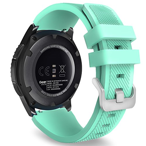 MoKo Correa para Galaxy Watch 3 45mm/Galaxy Watch 46mm/Gear S3 Frontier/Classic/Huawei Watch GT2 Pro/GT2e/GT 46mm/GT2 46mm/Ticwatch Pro 3-22mm Banda Deportiva Silicona Suave Reemplazo - Menta Verde