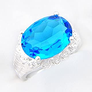 Phonphisai shop Huge Gorgeous Oval Cut Titanic Ocean Blue Topaz Gems Silver Ring US Size 7 8 9 (7)