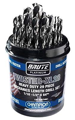 "Champion Cutting Tool Brute Platinum 29 Piece 1/16-1/2"" x 64ths HSS Mechanics Length Twister-XL28 Drill Bit Set-135 Degree Split Point, Water Resistant Index-MADE IN USA"