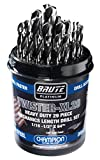 Champion Cutting Tool Brute Platinum 29 Piece 1/16-1/2' x 64ths HSS Mechanics Length Twister-XL28 Drill Bit Set-135 Degree Split Point, Water Resistant Index-MADE IN USA