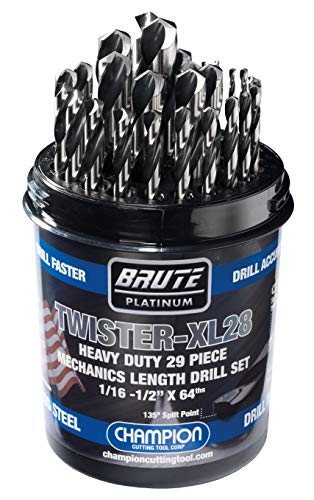 "Champion Cutting Tool Brute Platinum 29 Piece 1/16-1/2"" x 64ths HSS Mechanics Length Twister-XL28 Drill Bit Set-135 Degree Split Point, Water Resistant Index-MADE IN USA"