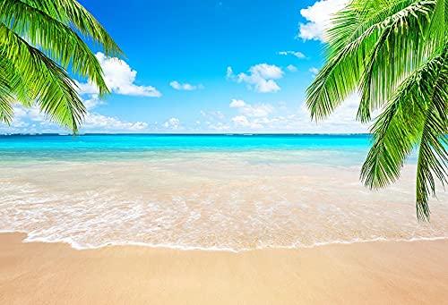 Fondo de fotografía de Playa Tropical Junto al mar Verano Boda bebé cumpleaños Ducha Fiesta Foto Estudio telón de Fondo A27 10x10ft / 3x3m