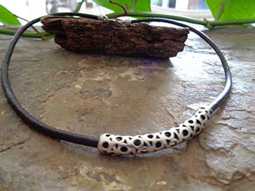 ✿ ÚNICO LARGO ESPACIADOR Y CUERO ✿ collar marrón, cadena de cuero