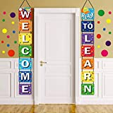 Back to School Banner Welcome Banner Porch Sign Polka Dot Wall Decals Set for Kids Boys Girls Kindergarten Pre-School Primary High School Classroom Decorations, Wall Stickers for Bedroom Living Room