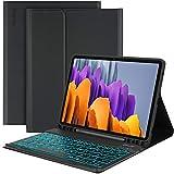 EasyAcc Tastatur Hülle Kompatibel mit Samsung Galaxy Tab S7 2020, Beleuchtete Tastatur Magnetische Kabelloser Bluetooth Abnehmbare Deutsche QWERTZ Schutzhülle Kompatibel Samsung Tab S7 2020, Schwarz