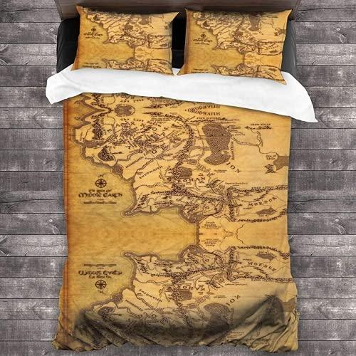 QWAS Funda nórdica de El Señor de los Anillos con película animada, ropa de cama infantil, regalos para niños (L2,140 x 210 cm + 80 x 80 cm x 2)