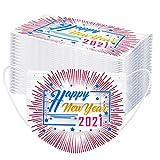FFQY Adult 2021 Happy New Years Mundschutz, Einweg Mund und Nasenschutz, Bandana Face Cover Mouth Cover Waschbar Atmungsaktiv Multifunktionstuch Halstuch Mundbedeckung Schutz