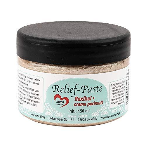 Ideen mit Herz Relief-Paste | flexibel | 150ml (Creme Perlmutt)