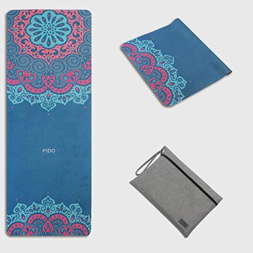 Pido, Tappetino da yoga da viaggio con stampa, in gomma scamosciata, leggero e antiscivolo, per yoga e viaggi, con borsa per il trasporto, Hanmo, 185*68CM