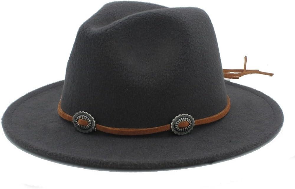 L.W.SUSL Women Men Panama Fedora Hat with Suede Top Hat