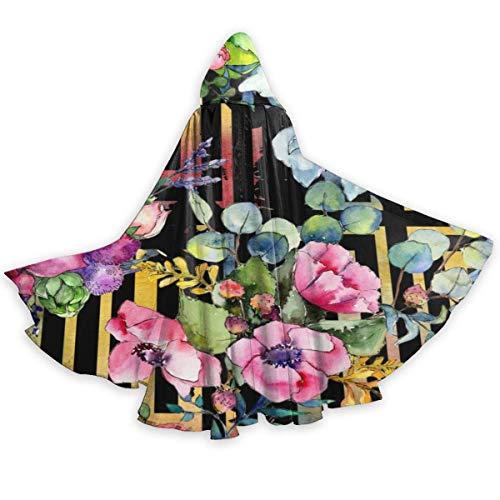 bishishengbibaihu Wildblumenstrauß-Muster in einem Aquarell-Art-Erwachsenen-Umhang Halloween-Cosplay-Kostüm Neutraler Langer Mützen-Umhang 59 Zoll langes Umhang