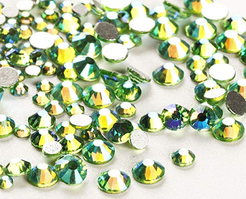 Jollin 3456pcs Flatback Rhinestones Glass Charms Diamantes Gems Stones for Nail Art 6 Size ss4~ss12 Light Green AB