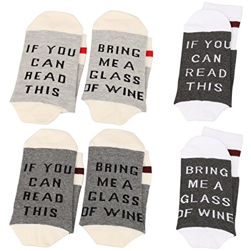 IF YOU CAN READ THIS Fun Wine Socks,3 Pack Cotton Funny Crew Socks Party Hosiery (Gray series)
