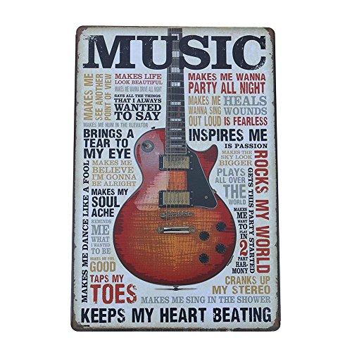 Broadroot Metall-Blechschilder Gitarre Musik Wandkunst Vintage Plaketten Gemälde Haus Dekor