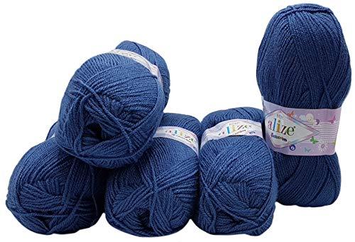 5 ovillos de 100 g de lana para tejer Alize Bebe monocolor,...
