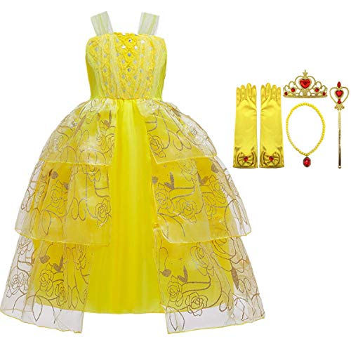 O.AMBW Mädchen Prinzessin Kleid schöne Schönheit Prinzessin Kostüm gelbe Pailletten gestickt geschichtet Flauschigen Abendkleid Halloween Party Cosplay Kostüm Accessoires Krone Magic Stick Halskette