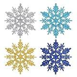 Aitsite 24pcs de Adornos de Copos de Nieve con Purpurina, 4 Pulgadas para Copo de Nieve Decor Colgantes Decoraciones de Navidad Bodas Fiestas (6 Dorados+6 Plateados+6 Azul Claro+6 Azul Oscuro)