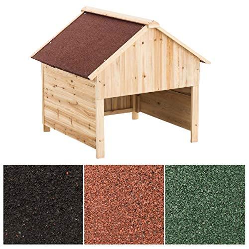 CLP Holzgarage Für Rasenroboter | Unterstand Für Rasenmähroboter Mit UV-Strahlenschutz | Überdachung Für Mähroboter Aus Holz, Farbe:rot