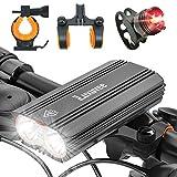 Luxuvee Luz Bicicleta Recargable, Luces Bicicleta Delantera y Traseras Impermeables IP65, Luz Bici USB con 4 Modos Iluminación, Luces Bici para Montaña y Carretera Nocturno con 2 Soportes