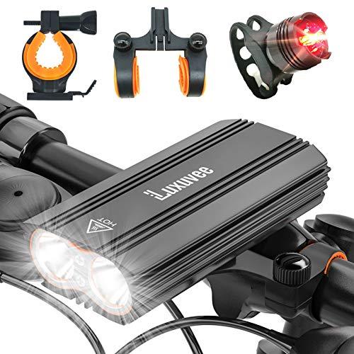 Luxuvee Luci Bicicletta LED Ricaricabili, Luci Bici USB Anteriore e Posteriore, FaroBici IP65 Impermeabili con 4 modalità, FanaliBici per Autisti notturni Ciclismo e Campeggio con 2 Staffe