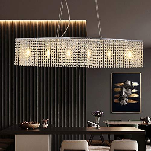 Lámpara Colgante E14 Lámpara Mesa Comedor Lujo K9 Borla Luces Cristal Sala Luz Colgante Cadena Luz Luces De Techo Altura Ajustable Lámpara Colgante De Metal Vestíbulo Salón Cocina Lámpara Decorativa