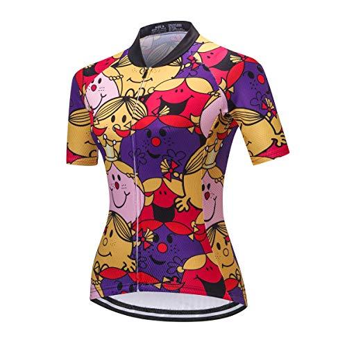 Damen-Radtrikot, Tops, Sommer, Kurzarm, durchgängiger Reißverschluss, Radbekleidung - Pink - Groß