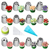 Russian Piping Tips Set, Wowdecor 24pcs Supplies Kit, Icing Nozzles Flowers Shaped, Frosting Bags...