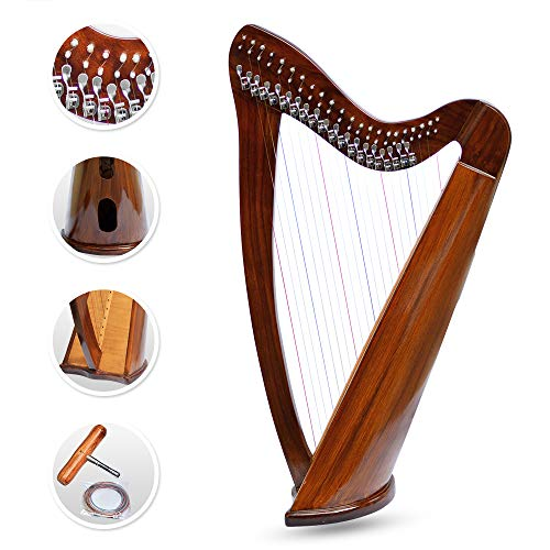 22 Strings Harp Irish Celtic Highland Solid Rosewood Round shape Nylon Lever Tuning Key Extra Set included 37' inches tall Roseback