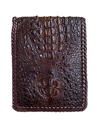 Monedero clásico de piel de cocodrilo genuino marrón con espinas jorobadas y espinas de cuerno espinoso para hombres - boder borde de costura diseño vintage para más varonil