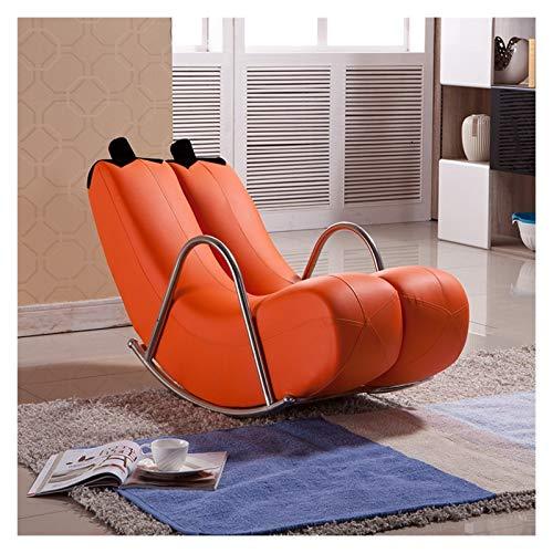 HongTeng- Schaukelstühle Leder Banana Schaukelstuhl Recliner Faules Sofa Stuhl Europäischen Stil Modern 120x48x50cm, Multi-Color Optional (Color : Orange, Size : 120x48x50CM)