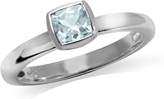 Genuine Cushion Cut Blue Aquamarine 925 Sterling Silver Stack Stackable Solitaire Ring