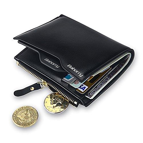 Expresstech @ RFID Cartera Anti-robo Cartera de cuero de la PU con soporte de tarjeta extraíble para Tarjeta de Crédito Carnet ID y Dinero, Negro