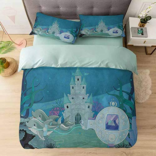 Aishare Store Duvet Cover Set 3 Pieces, Fairytale Mermaid Castle with Dolphins Moss Fish Sun Beams Art Print, Microfiber Duvet Cover, Luxurious & Hypoallergenic Decorative, Turquoise Pale Blue Teal